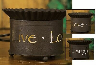 Unique VIntage Short Round Punched Tin Electric Tart Wax Warmer LIVE LOVE LAUGH
