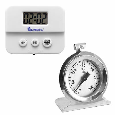 Edelstahl Analog Backofenthermometer 300 °C Digital Küchentimer Timer Set