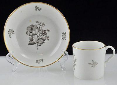 19thC c1810 Spode Sepia Gilded Floral Fruit Coffee Can & Tea Bowl Antique Old