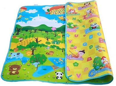 Large Baby/Kids Play/Crawl Mat 2mx1.8m - Double Sides - Forest+Holiday