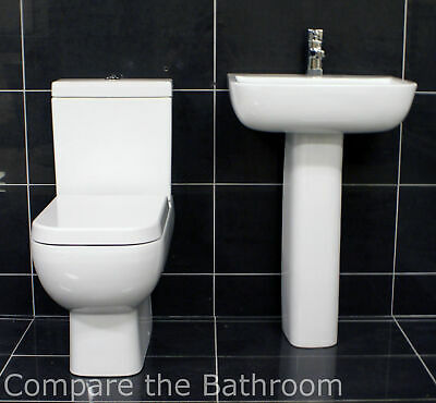 Rak Series 600 Basin and Toilet Set with Luxury Soft Close Seat Bathroom Suite