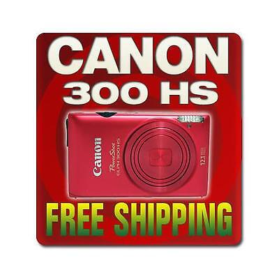 Canon PowerShot 300 HS Digital Elph Camera Red + 8GB KIT 5097B001
