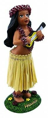 "Hawaiian Souvenir Miniature Car Dashboard Hula Doll Girl w/ Ukulele  4"" 40779"