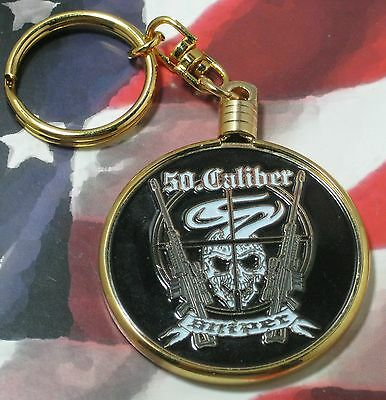 "Swivel Keychain Sniper 50 Caliber 1-3/4"" Coin With Gold Frame"