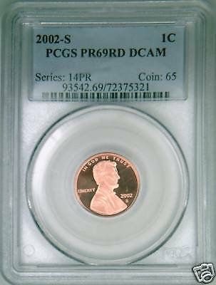 2002-S PCGS PR69DCAM proof Lincoln cent deep cameo red