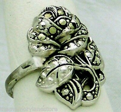 True Vintage Estate Marcasite Rose Flower Sterling Silver Ring, Size 8