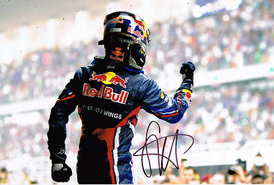 Sebastian Vettel SIGNED AUTOGRAPH F1 World Champion Red Bull Win Photo AFTAL COA