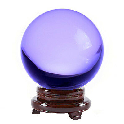 "Purple (Lavender) Crystal Ball 150mm 6"" Include Wooden Stand and Gift Package"