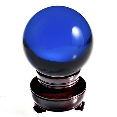 "Blue (Cobalt) Crystal Ball Sphere 150mm 6"" Include Wooden Stand and Gift Box"