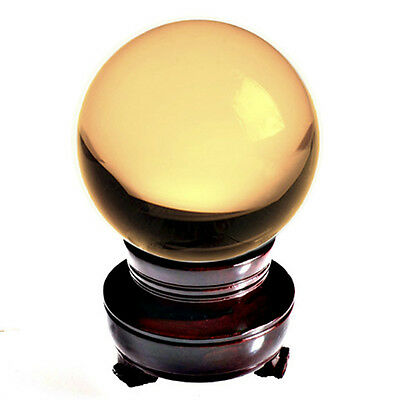 "Yellow (Topaz) Crystal Ball 150mm 6"" Include Wooden Stand and Gift Package"