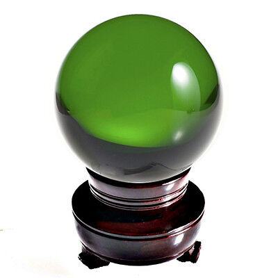 "Green (Emerald) Crystal Ball 150mm 6"" Include Wooden Stand and Gift Package"