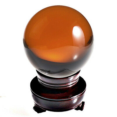 "Amber Crystal Ball Sphere 150mm 6"" Include Wooden Stand and Gift Package"