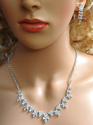 Bridal Crystal Necklace Earrings Set Prom Wedding Pageant Jewelry N1D67