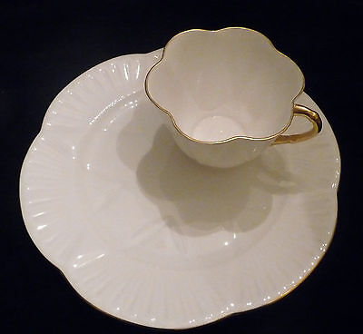 Vintage  Shelley Dainty White Snack Set With Gold Trim