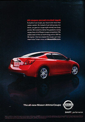 2008 Nissan Altima Coupe - 270hp -  Classic Advertisement Ad A58-B