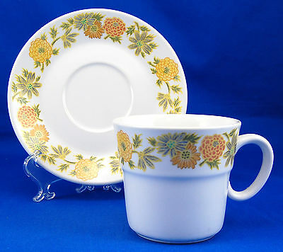 Noritake Progression SUNNY SIDE 9003 Flat Cup and Saucer Set 3 in. Orange Yellow