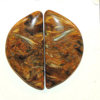 Pietersite Cabochon pair 28x14mm with 4.5mm dome (1411)