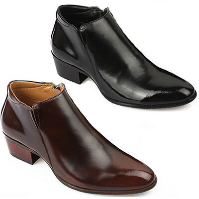 New Mens Dress Leather Shoes Formal Casual Black Brown Ankle Boots Deluxe