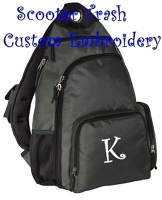 Personalized book bag school SLING backpack Charcoal GREY Gray NEW