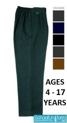 Zeco Boys School Uniform Generous/Sturdy Fit Trousers with Elastic Back 4-17 yrs