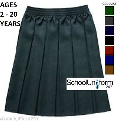 ZECO GIRLS FULLY ELASTICATED BOX PLEAT SCHOOL UNIFORM SKIRT 2-20 yrs 7 COLOURS