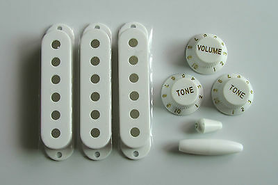 ST Pickup Covers Strat Knobs Switch,Trem Arm Tip White