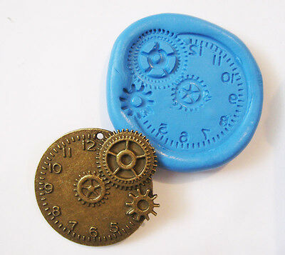 Steampunk Clock Flexible Silicone Push Mold Polymer clay Resin Miniature mould