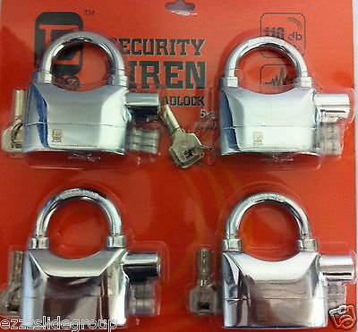 Padlocks Siren Alarm 4 Keyed ALike   Padlocks CHROMIUM PLATTED)))) Free P/H