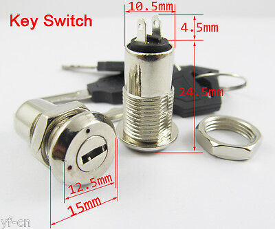 1pc Key Switch ON/OFF Lock Switch K3 with Plastic Handle 10.5x29mm