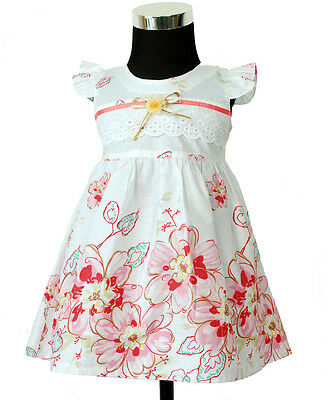 New Baby Girls White and Pink Floral Cotton Party Dress 0-3 Months