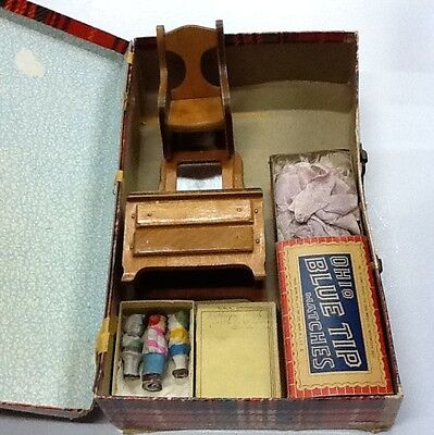 WOW Vintage Doll Hand Made Furniture Case Clothing Junk Lot!