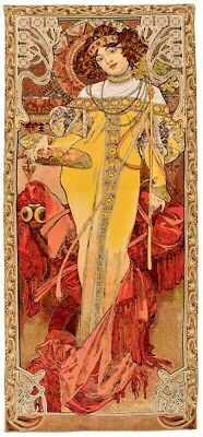 "New 40"" X 18"" Alphonse Mucha ""autumn"" Tapestry Wall Hanging, Made In Belgium"