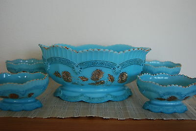 EAPG ANTIQUE TURQUOISE BLUE NORTHWOOD EARLY AMERICAN GLASS GILDED BERRY BOW SET
