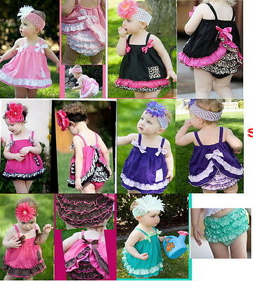 Free Shipping Girl Baby Ruffle Top+Pants+Headband Set 0-3Y Bloomers Nappy Cover