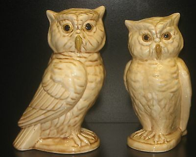 Vtg (2) Large Glazed Tan Ceramic Male & Female Owl Figurines Have Crazing Japan