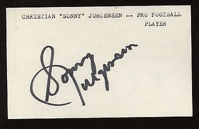 Sonny Jurgenson Autographed Index Card Hologram