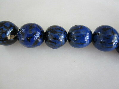 Polished Lapis Blue & Black Tagua Nut Wood Beads 18mm to 20mm Round 10p