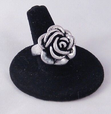 12 New Wholesale Pewter Tone  Antiqued Rose Flower Rings #R1044