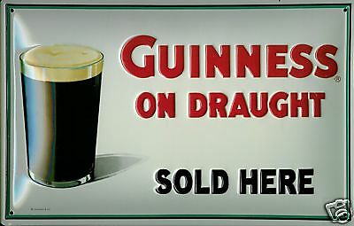 "Guinness On Draught Sold Here Embossed Metal Sign 8"" X 12""  SIZE 7"