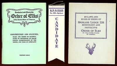 1944 ORDER OF ELKS By-Laws Booklets