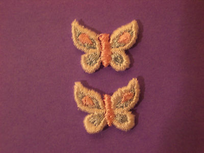 Small Pink & Blue Butterfly Embroidery Applique Patch Emblem Lot (12 Dozen)