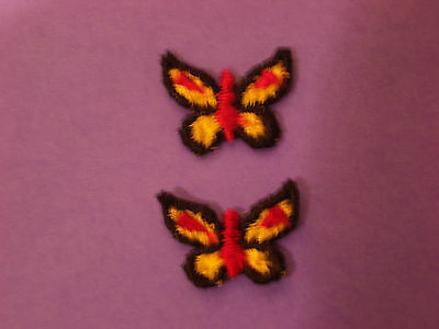 Small Red & Yellow Butterfly Embroidery Applique Patch Emblem Lot (12 Dozen)