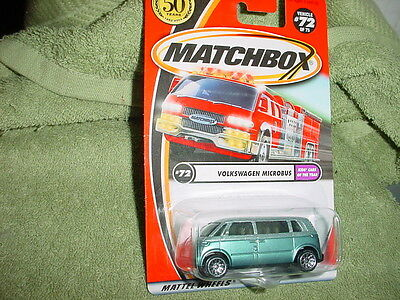 MATCHBOX VW VOLKSWAGEN MICROBUS  #72/75 1/64 2001 RELEASE MINT ON CARD