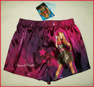 HANNAH MONTANA Girls Kids Satin BOXER SHORTS Boxers Pyjamas Sz 8 10 12 14 16 New