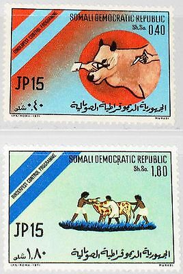 SOMALIA 1971 185-86 383-4 Kampf gegen Rinderpest Campaign Vaccination of Cow MNH