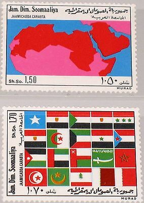 SOMALIA 1974 213-14 410-11 Arabische Liga Admission to Arab League Map Flags MNH