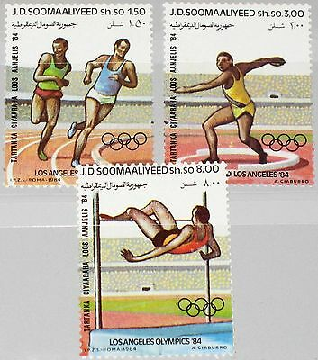 SOMALIA 1984 353-55 535-37 Olympics Los Angeles Sport Runners Discus Thrower MNH