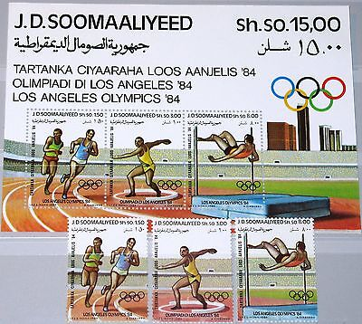 SOMALIA 1984 353-55 Block 15 535-37a Olympics Los Angeles Sport Runners MNH