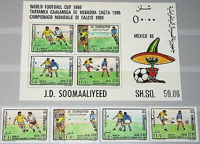 SOMALIA 1986 388-91 Block 21 568-71a Soccer World Cup Fußball WM Mexico MNH