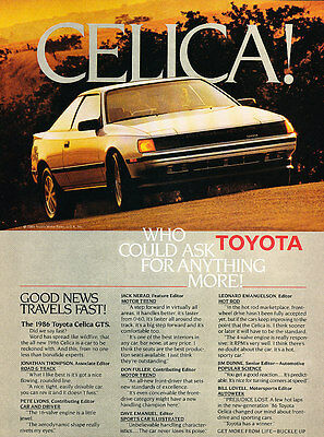 1986 Toyota Celica GTS - silver -  Classic Vintage Advertisement Ad A63-B